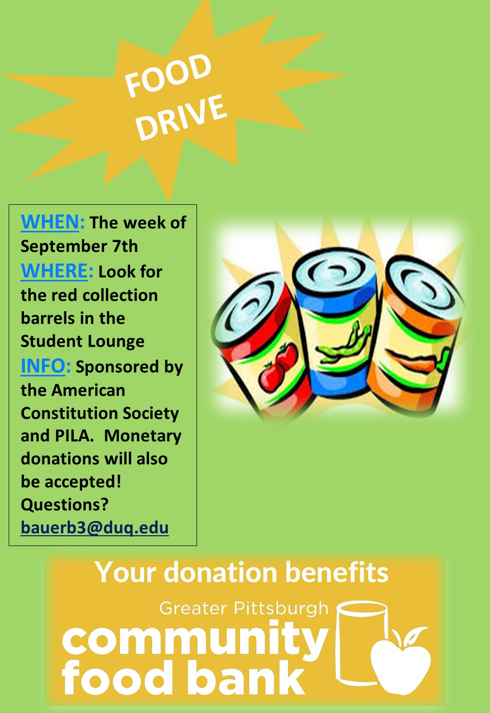 poster advertising the food drive
