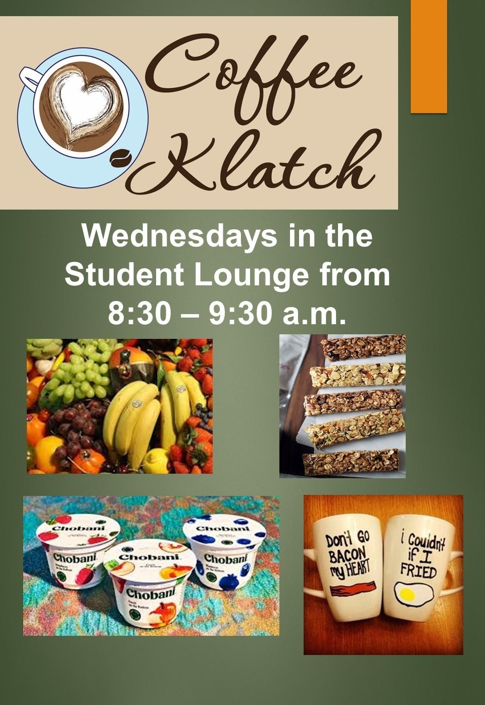 poster advertising coffee klatch wednesdays