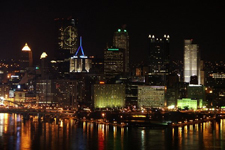 Photo of downtown Pittsburgh at night from Mt. Washington