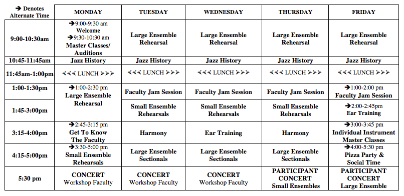 Summer Jazz Experience SCHEDULE 2018