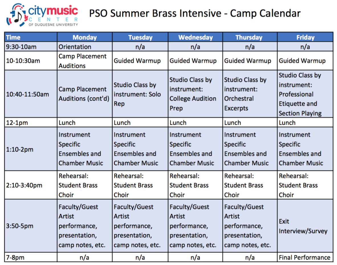PSO Summer Brass Intensive - Camp Calendar