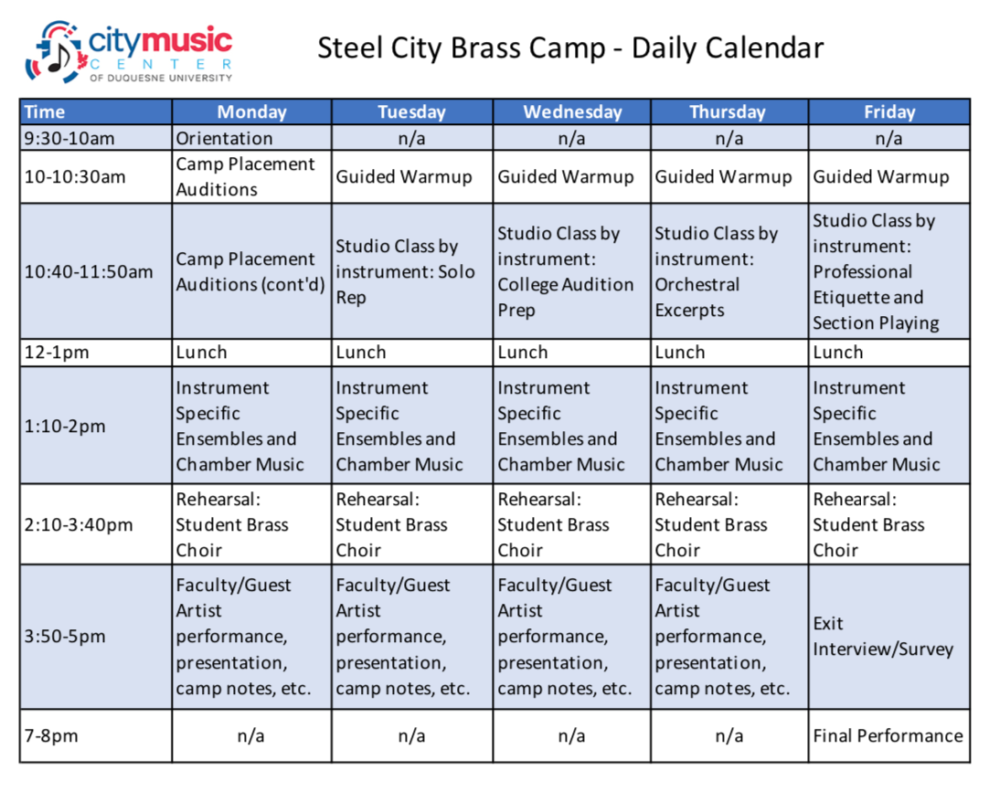 Steel City Brass Camp - Daily Activities