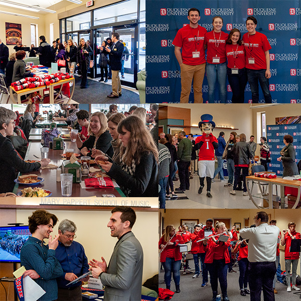 Collage of images featuring Duquesne faculty, staff, and students along with prospective students at historical Showcase Saturday events.