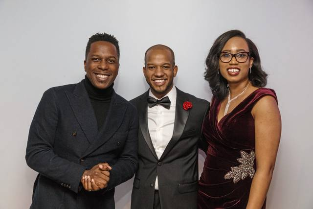 """Hamilton"" star Leslie Odom Jr. (left) with Michael Warren (center) and wife Kayla at ""A Night of Promise"" gala to benefit The Pittsburgh Promise. Photo courtesy of David Bachman Photography."