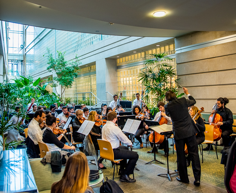 the Duquesne Chamber Orchestra performs at the Hillman Cancer Center.