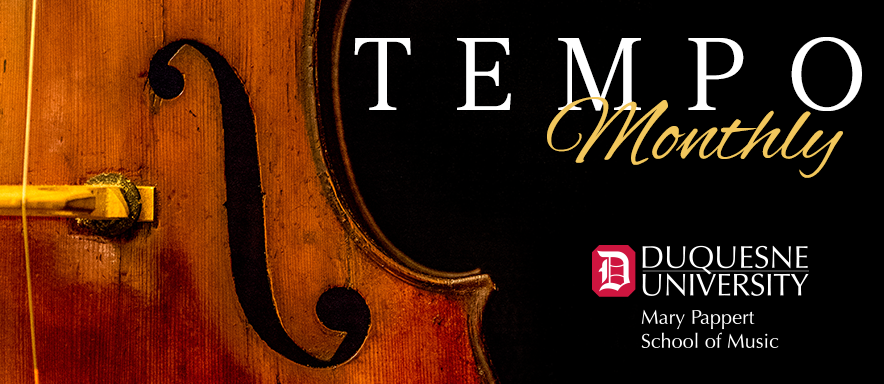 TEMPO Monthly graphic with closeup photo of a bass.