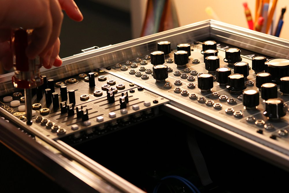 Duquesne's modular synthesizer being built