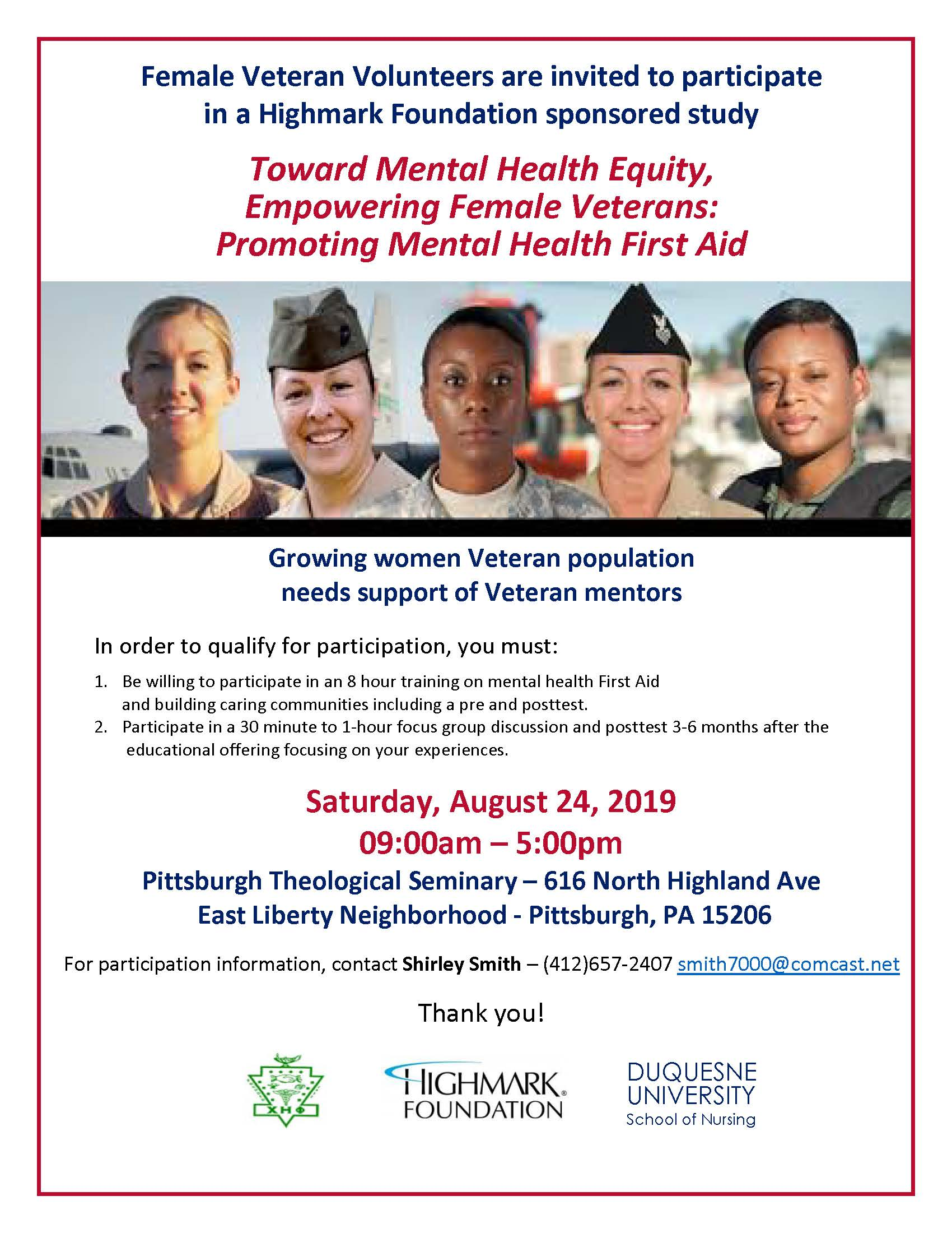 Female Veteran Research Opportunity flier for promoting mental health first aid