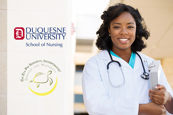 Promo graphic for tuition discount partnership between Chi Eta Phi Sorority and Duquesne University School of Nursing
