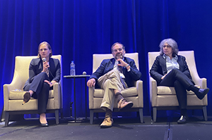 three panelist speakers seated at the 2020 Carol Carfang Nursing & Healthcare Ethics Conference