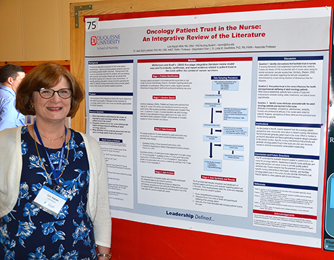 Photo of Lois Rajcan and her poster