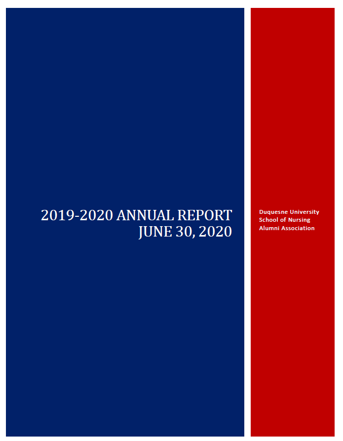 2019-2020 Annual Report Cover for Duquesne University School of Nursing Alumni Association