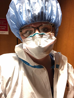 2018 Duquesne Nursing Grad Mary Gingrow in COVID-19 PPE