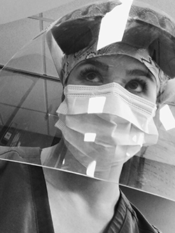 Second Degree Student Sarah Wright in PPE for COVID-19