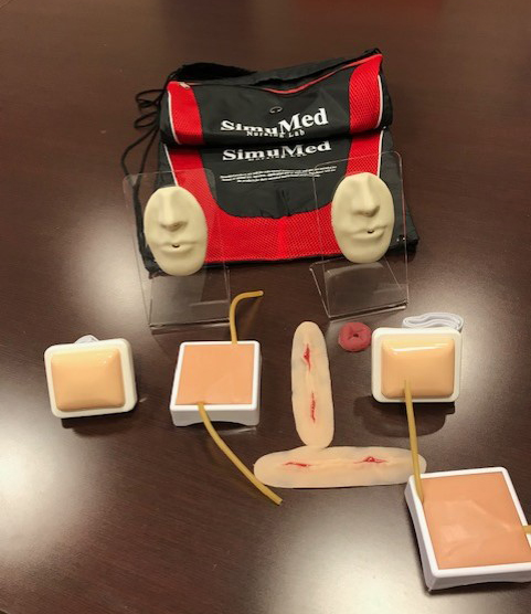 Photo of SimuMed Nursing Lab kit and all contents of the kit