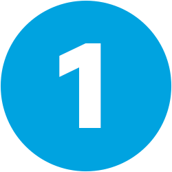 white numeral 1 on blue background