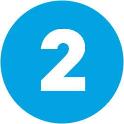 white numeral 2 on blue background