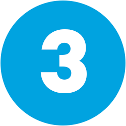 white numeral 3 on blue background