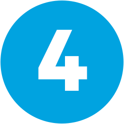 white numeral 4 on blue background