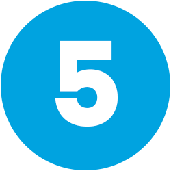 white numeral 5 on blue background