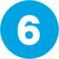 white numeral 6 on blue background