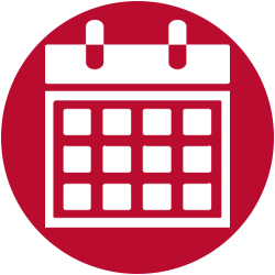 icon of white calendar on red background