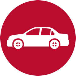 icon of white sedan car on red background