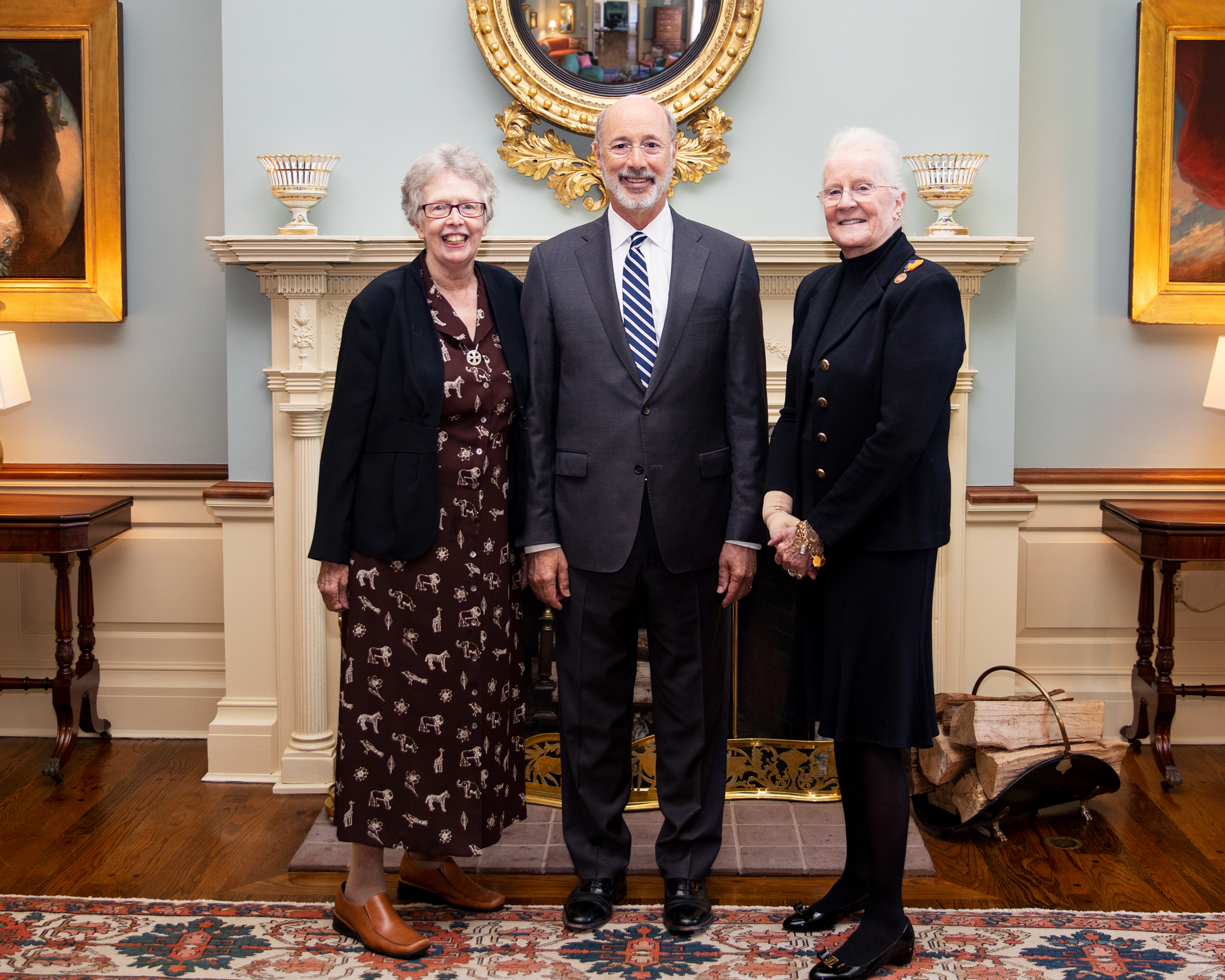 Image of Sister Rosemary Donley and Governor Wolf at Distinguished Daughter Luncheon with another awardee