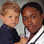 Photo of SANE nurse and child