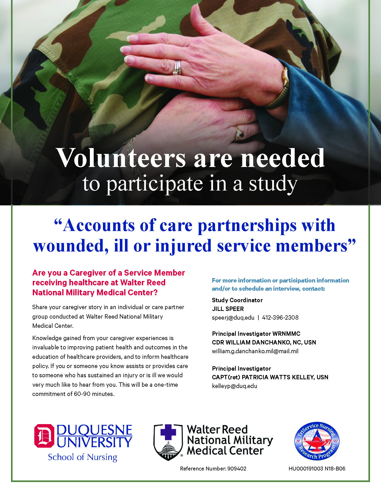 Flyer for Accounts of care partnerships with wounded, ill or injured service members Research study
