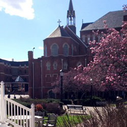 A view of Academic Walk and the Duquesne University chapel in Pittsburgh.