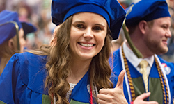 Duquesne Universiy Mylan School of Pharmacy Class of 2016 student Lauren Abruzzo excited to receive a Pharm.D. at the 2016 Commencement Ceremony.