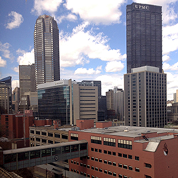 The view of downtown Pittsburgh from the Duquesne University campus.
