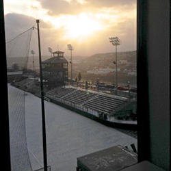 A view from the Mellon Hall study area overlooking Ronney Field at Duquesne University in Pittsburgh.