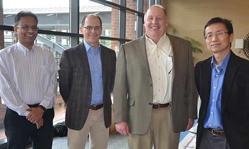 The Duquesne University Office of Research inducted Dr. Wilson Meng (far right) of the Mylan School of Pharmacy and Graduate School of Pharmaceutical Sciences into the Office of Research Hall of Fame in May.