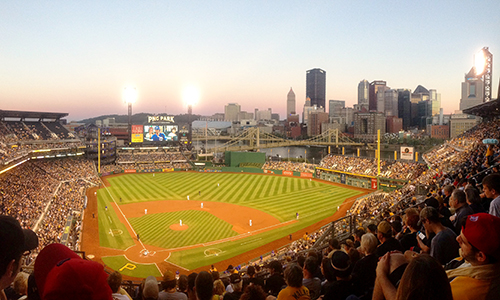 A picture of PNC Park, home of the Pittsburgh Pirates, with downtown Pittsburgh in the background taken by Duquesne University School of Pharmacy Student Diplomat Erin Hayden.