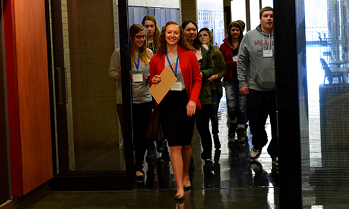 Prospective students touring Mellon Hall at the Duquesne University School of Pharmacy 2016 Preview Day