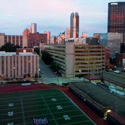 A view from Des Places Hall at Duquesne University overlooking Rooney Field and downtown Pittsburgh.