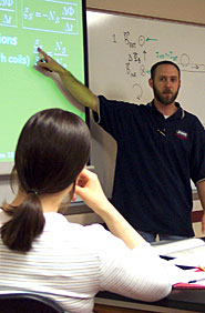 Physics Instructor Darryl Ozimek teaching