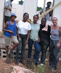 Leah Kral working at Habitat for Humanity in Jamaica