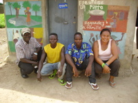 Joan Marshall in a Third-World squat with friends in Togo