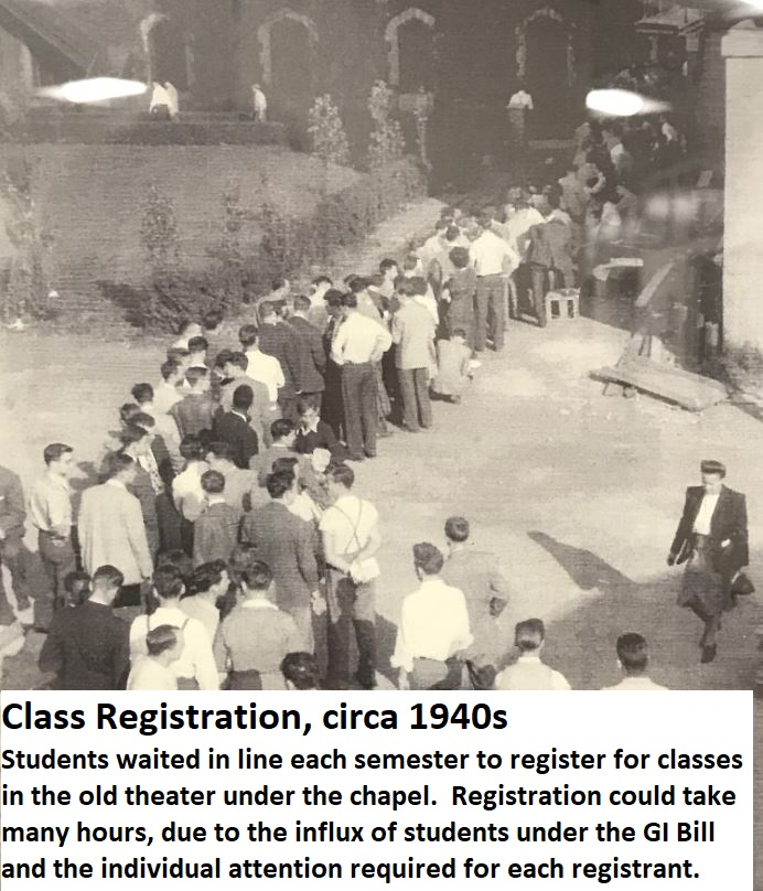 Class Registration circa 1940s students waiting in line outside of Old Main Administration Building