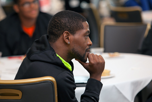 Chaperone, Mr. Ronell Heard, Imani Christian Academy, looks on to gather new ideas which he can use in the classroom to engage his teen learners.