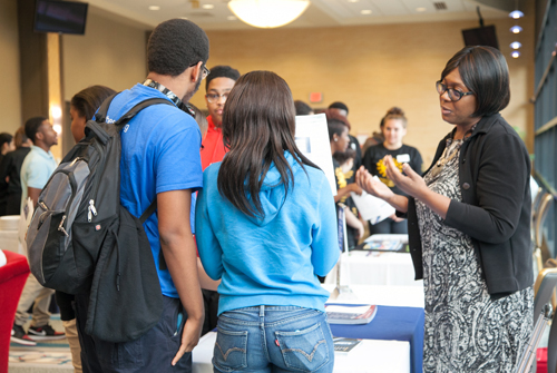 Ms. Janet Harris, Duquesne University Admissions Department, shared information with students during the networking break on applying to Duquesne University as freshmen.