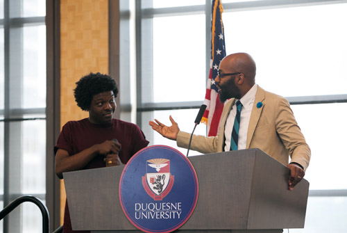 Mr. Jabari Johnson accompanied Dr. Christopher Emdin to Duquense University to showcase his oratory skills as academic rapper.  Mr. Jabari Johnson was the winner of the B.A.T.T.L.E.S. (Bringing Attention to Transforming, Teaching and Learning Science) contest. B.A.T.T.L.E.S. was conceived at the Columbia University Teachers College as a way to keep students engaged in school and in science.