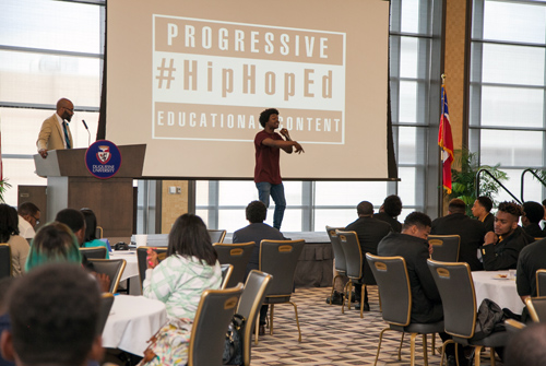 Mr. Jabari Johnson, Columbia University Teachers College, demonstrates his lyrical genius as he raps science formulas with precision.