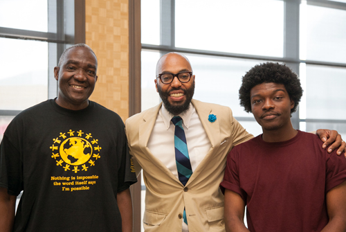Dr. Launcelot Brown, Sizemore Professor, proudly wears a t-shirt designed by the students in the Sizemore Pipeline at Pittsburgh Brashear Teaching Academy.  Dr. Christopher Emdin and Mr. Jabari Johnson, Columbia University Teachers College, were excellent speakers for our first annual Sizemore Youth Conference!