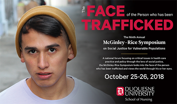 Graphic for the McGinley-Rice Symposium on the Face of the Person who has been Trafficked