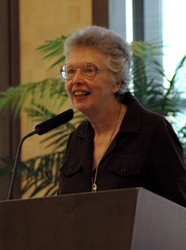 Photo of Sister Rosemary Donley at the podium