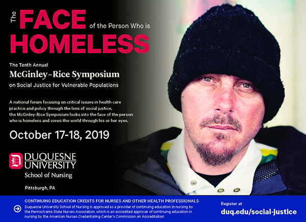Graphic for the McGinley-Rice Symposium on the Face of the Person Who is Homeless